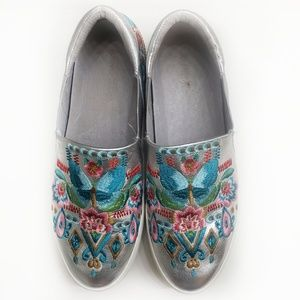 Johnny Was Silver Butterfly Embroidered Sneakers